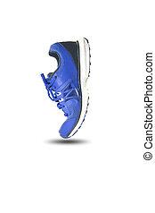 bleu, chaussure de course