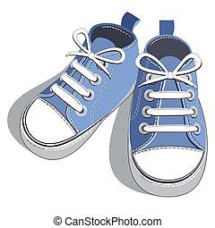 bleu, chaussures