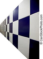 bleu, checkered., murs