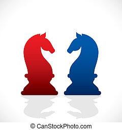 bleu, cheval rouge