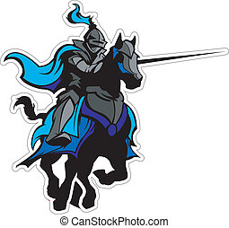 bleu, chevalier, cheval, mascotte, jouter