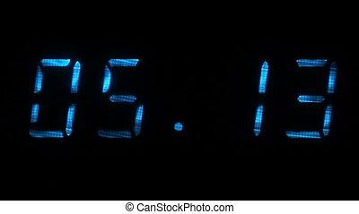 bleu, chiffres, rapide, horloge, exposer, temps, noir, numérique, ajustement
