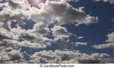bleu, chronocinématographie, nuages, 1080, ciel, sur, -, profond