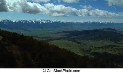 bleu-ciel, aérien, montana, paradis, coup, vallée, jour