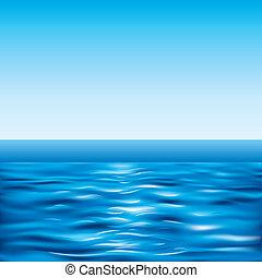 bleu, ciel clair, mer