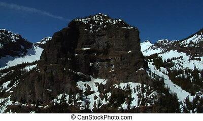 bleu-ciel, montagne, aérien, neigeux, faces, coup, jour