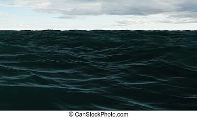 bleu, ciel nuageux, océan, sous, agité