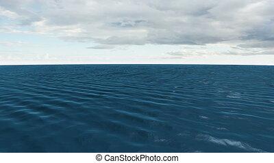 bleu, ciel nuageux, océan, sous, encore