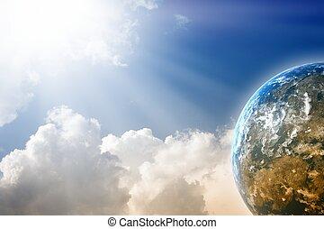 bleu ciel, planète