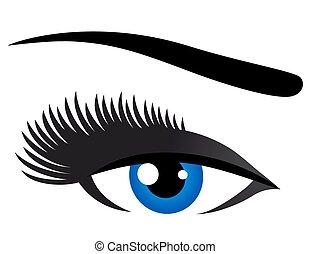 bleu, cils, oeil, long