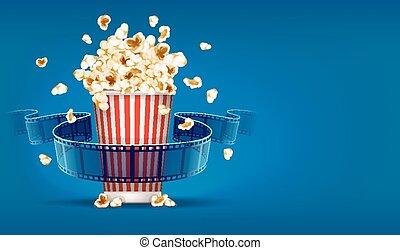 bleu, cinéma, film, bande, fond, pop-corn, pellicule