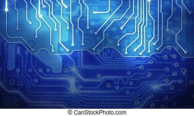 bleu, circuit, panneau ordinateur, fond, boucle