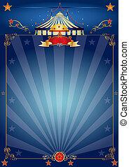 bleu, cirque, magie, affiche