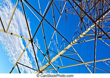bleu clair, ciel, pylône, acier, électricité