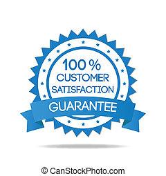 bleu, client, écusson, satisfaction
