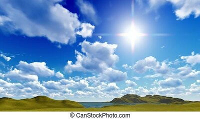 bleu, cloudscape, ciel