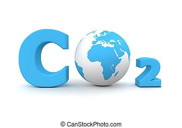 bleu, co2, global, -, bioxyde, carbone