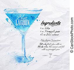 bleu, cocktails, aquarelle, lagune