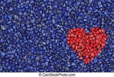 bleu, coeur, arrière-plan rouge