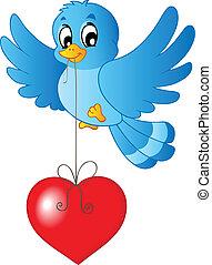 bleu, coeur, ficelle, oiseau