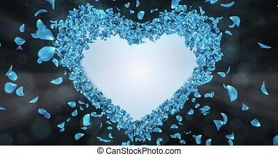 bleu, coeur, fleur, rose, forme, pétales, mat, sakura, alpha, placeholder, boucle