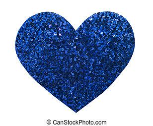 Tournant Paillettes Application Coeur Argent//Bleu