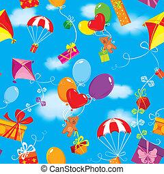 bleu, coloré, cadeau, ours nounours, modèle, cerf volant, ciel, présente, seamless, parachute, clouds., fond, ballons, boîtes
