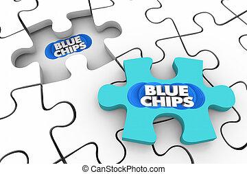 bleu, complet, sommet, 3d, priorities, final, illustration, morceau, chips, puzzle, buts
