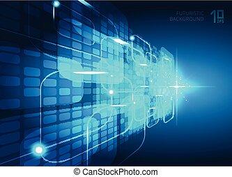 bleu, concept, explosion, espace, lumière, résumé, text., virtuel, perspective, fond, numérique, carrés, technologie, ton, futuriste