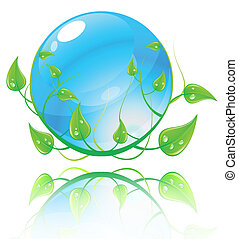 bleu, concept., illustration, environnement, vecteur, vert