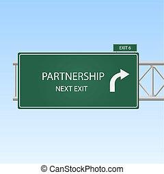 """bleu, concept, image, ciel, signe, arrière-plan., sortie, """"partnership"""", autoroute"""