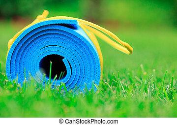 bleu, concept, natte yoga, haut, photo, herbe, vert, fitness, fin