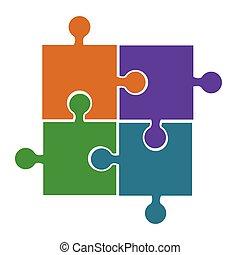 bleu, concept, processus, puzzle, solution, morceaux, quatre, orange, connexion, vecteur, vert, violet, icône, problème, ou