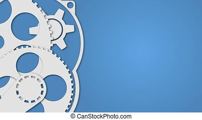 bleu, concept, technologie, engrenages, fond
