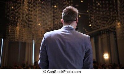 bleu, conférence, business, -, conversation, déguisement, homme, salle, étape