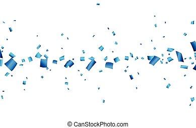 bleu, confetti, banner., célébration