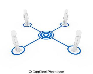 bleu, connexion, hommes, 3d