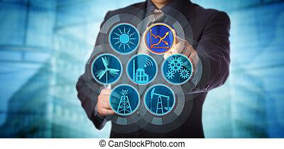 bleu, contrôler, puce, efficacité, directeur, énergie