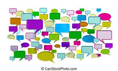 bleu, conversation, coloré, icônes