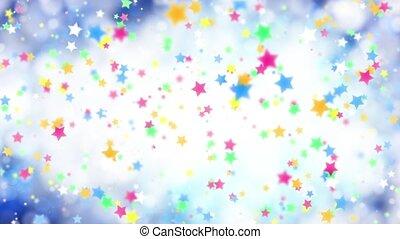 bleu, couleur, étoiles chute, fond