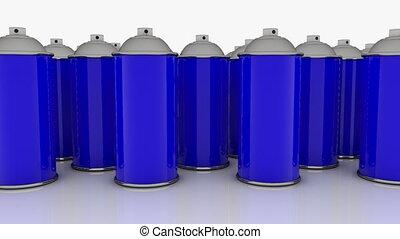 bleu, couleur, boîtes, pulvérisation