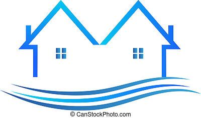 bleu, couleur, vecteur, logo, maisons