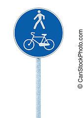 bleu, couloir, vélo, signe, grand, piéton, poteau, poste, route