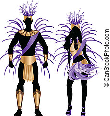 bleu, couple, silhouette, carnaval
