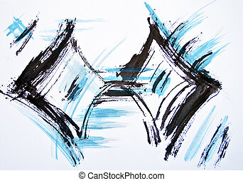 bleu, coups, aquarelle, arrière-plan noir, original