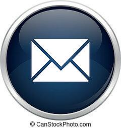 bleu, courrier, icône
