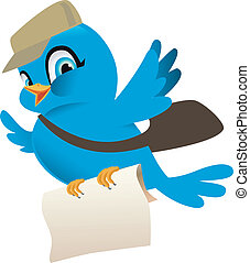 bleu, courrier, oiseau