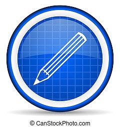 bleu, crayon, lustré, fond, blanc, icône