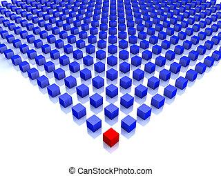 bleu, cubes, une, champ, coin, rouges