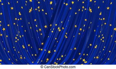 bleu, curtain., théâtral